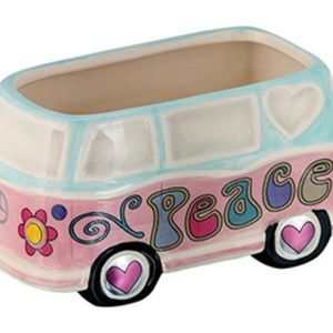 Hippie Peace Van / Bus Planter Pot Ceramic Garden